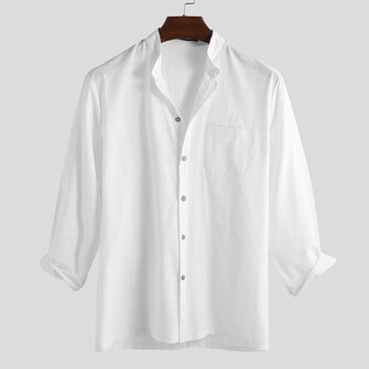 Mens Fashion 100% Cotton Pocket Solid Color Casual Shirts