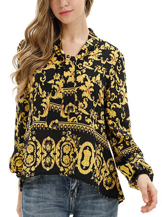 Retro Print Long Sleeve Strap Blouse For Women