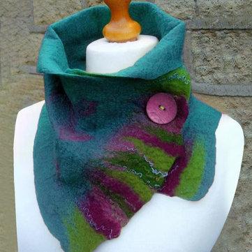 Women's Green Vintage Plain Scarves & Shawl