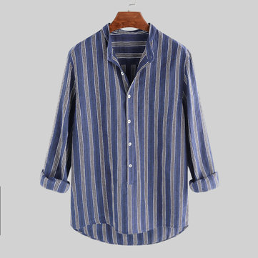 Mens 100% Cotton Striped Stand Collar Long Sleeve Loose Buttons Fly Casual T-shirts