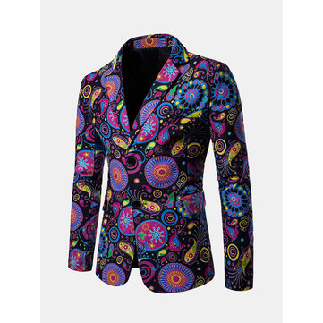 Mens Fashion Print Blazer Design Casual Male Slim Fit Suit Jacket