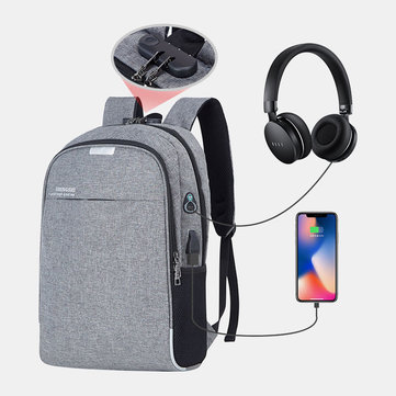 Men Large Capacity USB Anti-Theft Casual Backpack Outdoor Travel Bag