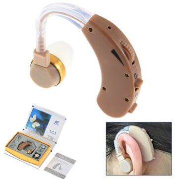 Portable Digital Tone Hearing Aids Aid Deaf-aid Behind The Ear Sound Earphone Amplifier Adjustable with 4 Earplugs
