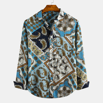 Men Ethnic Style Printed Lapel Chest Pocket Long Sleeve Shirts