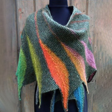 Casual Knitted Color-Block Scarves & Shawl