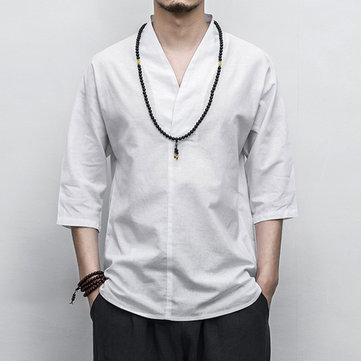 Mens Vintage Chinese Style Cotton Linen Solid Color Half Sleeve V-neck Casual Loose T-Shirts
