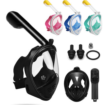 S/M/L/XL Foldable Anti Fog Fully Dry Diving Mask Portable Adjustable Snorkeling Mask with Removable Waterproof Earplugs