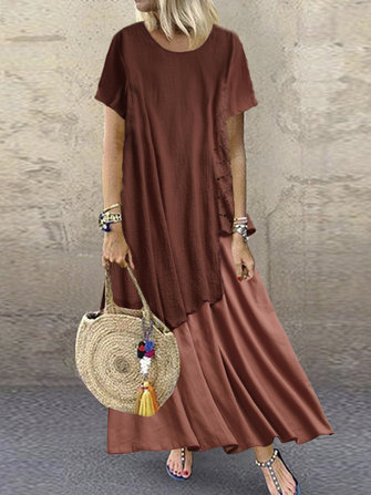 Bohemian Lace Patchwork Summer Plus Size Maxi Dress