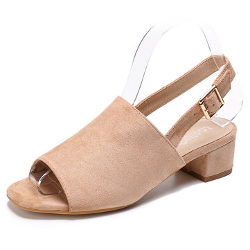 LOSTISY Women Solid Color Suede Peep Toe Slingback Chunky Heel Casual Daily Heeled Sandals