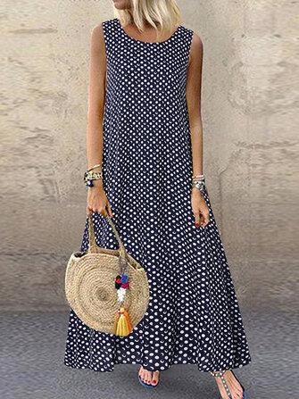 Women Bohemian Sleeveless O-neck Polka Dot Print Maxi Dress