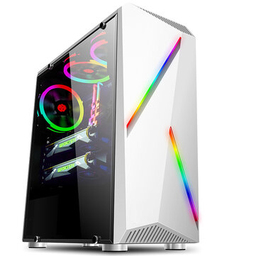 Computer PC Case Gaming Tower ATX Audio with 2 RGB Color Changing Light Strips 350X170X420mm
