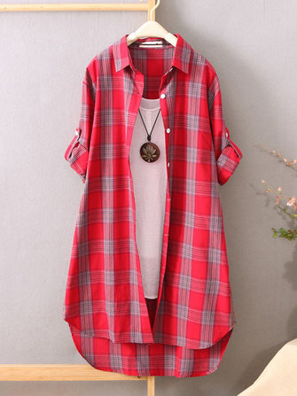 Vintage Plaid Stand Collar Long Sleeve Casual Women Blouse