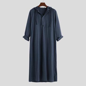 Mens Vintage Long Tunic Style Shirts Loose Cotton Kaftan Dress Tops