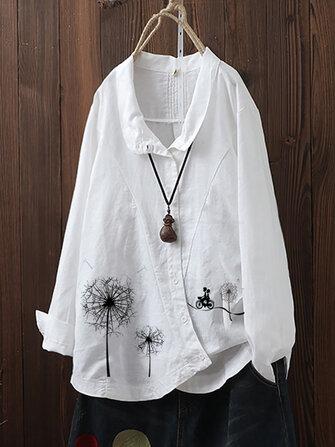 Flowers Print Irregular Button Lapel Plus Size Shirts