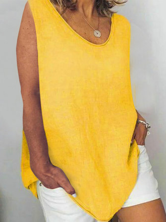 Solid Color V-neck Irregular Casual Plus Size Tank Tops