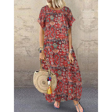 Women Casual Loose Printed O-Neck Short Sleeve Side Pockets Dress