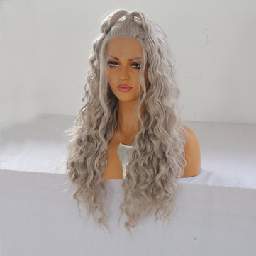 24 '' Frontale in pizzo ondulato naturale da donna Parrucca Girls Golden Blonde Curly Synthetic Capelli