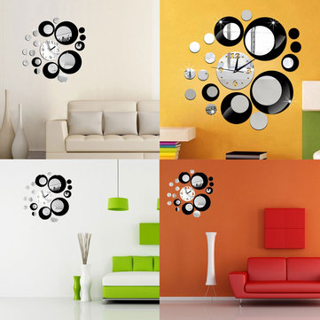Creative DIY 3D Mirror Wall Acrylic Clock Sticker Unique Big Number Modern Decorations