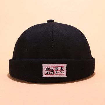 Men Women Cotton Solid Color Brimless Cap Sailor Cap Brimless Hats