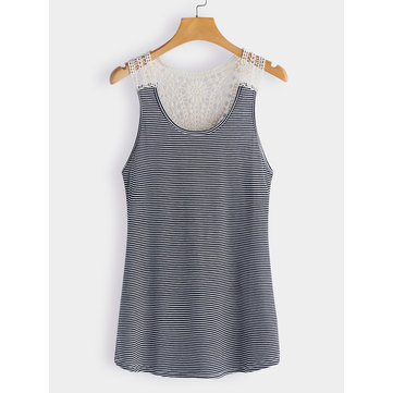 Navy Lace Details Stripe Round Neck Cami