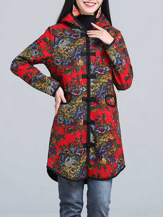 Women Floral Printed Hooded Coat
