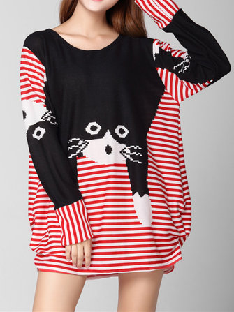 Plus Size Casual Women Cat Printed Loose Sweater