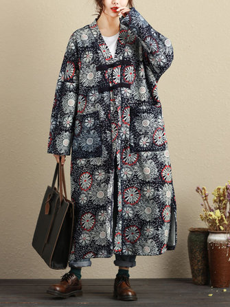빈티지 여성 V - 넥 인쇄 양털 코트를 늘어서