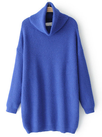 Plus Size Casual Women High Collar Sweaters