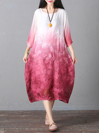 Retro Brand Gradient Dye Print Dress Color Embroidery Half Sleeve Linen Dress