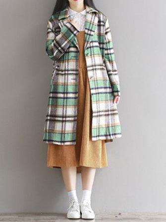 빈티지 격자 무늬 모직 롱 슬리브 여성 코트