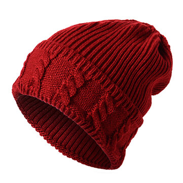 Mens Solid Warm Knitted Skullies Beanies Hats