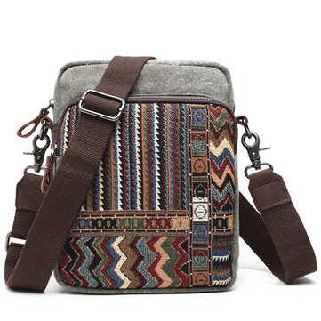 Brenice National Style Vantage Canvas Casual Crossbody Bag