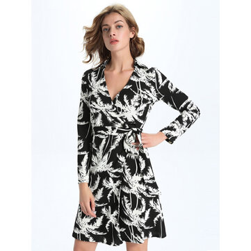 Sexy Women Long Sleeve V-Neck Printed Wrap Dress