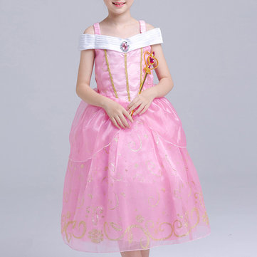 Pink Kid Girls Off Shoulder Patchwork Fancy Princess Dress