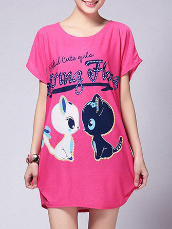 Plus Size Casual Women Cat Printed Short Sleeve Shirt