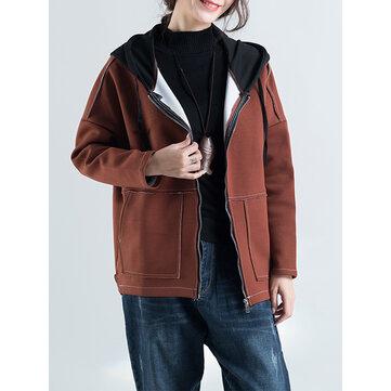 캐쥬얼 여성 두꺼운 후드 코트