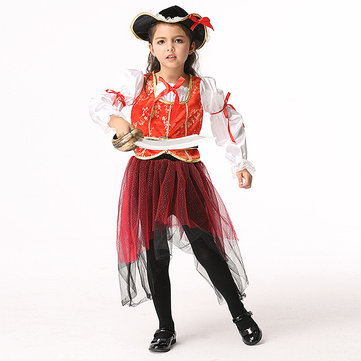 4Pcs Halloween Kid Girls Long Sleeve Pirate Cosplay Costume