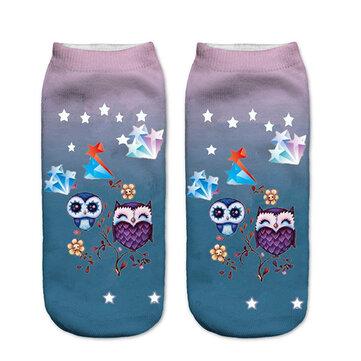 Women Harajuku 3D Owl Animal Print Socks Good Stretch Breathable Low Cut Ankle Socks