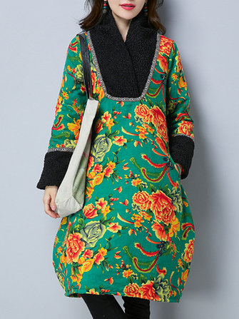Vintage Women Floral Lantern Thick Cotton Linen Dress