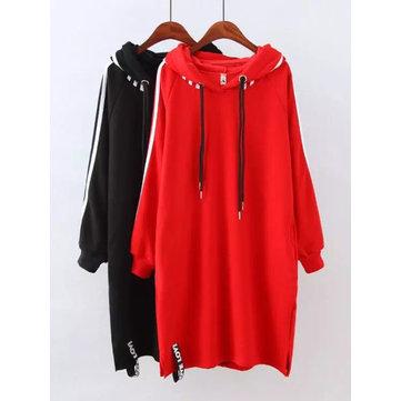 Plus Size Women Long Hoodie Plus Cashmere Thick Plain Sweatshirt