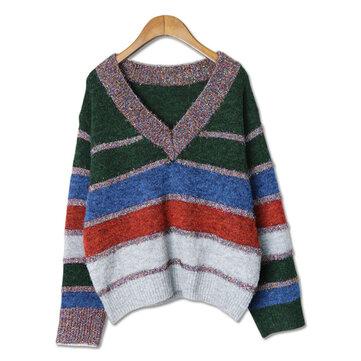 Plus Size Casual Women Color Patchwork Stripe Sweaters