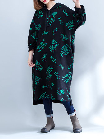 Plus Size Women Printed Hooded Long Maxi Sweatshirt Dress