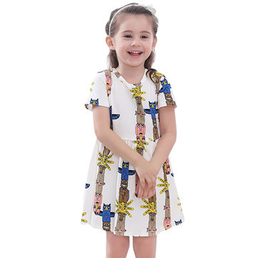 Kid Girls Short Sleeve Cartoon Pattern Printed Dress