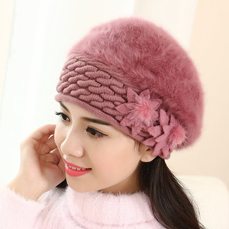 Women Warm Knitted Hats Winter Thicken Double Layer Elegant Beanies Cap