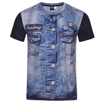 Mens Fashion Creative 3D Denim Jacket Printed T-Shirts Casual O-neck Short Sleeve Tops Tees