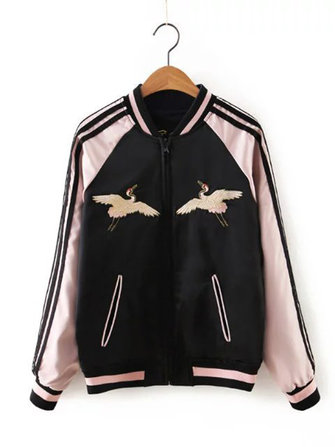 Black Women Both Sides Wearable Zip Up Crane Embroidered Baseball Jacket