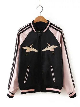 Black Women Both Sides Wearable Zip Up Crane Embroidered Baseball Jacket