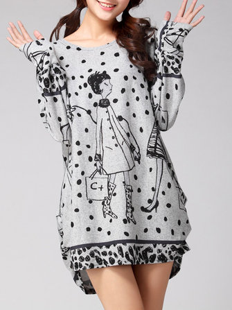 Plus Size Casual Women Printed O-Neck Sweaters