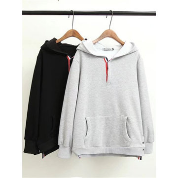 Plus Size Casual Women Pocket Hooded Sweatshirts