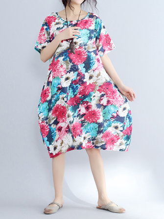 Floral Printed O-Neck Short Sleeve with Pockets Loose Dress For Women